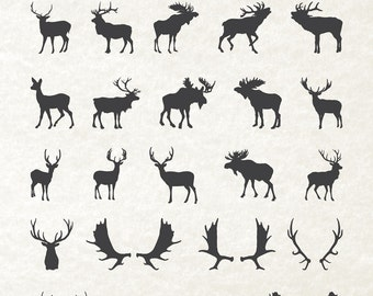 Deer Moose Antler Silhouette, Deer Silhouette, Moose Silhouette Clipart Clip Art PNG & Vector EPS, AI Design Elements Instant Download