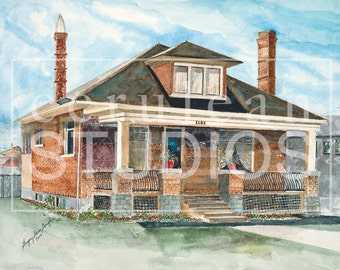 Boyhood Home, fine art print, Salt Lake City, watercolor print, wall art