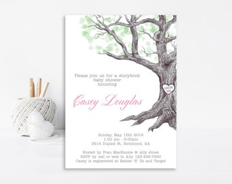 The Giving Tree Baby Shower Invitation, Giving Tree Invitation, Giving Tree Invite, Baby Shower Invitation, Printable Invitation, Heart