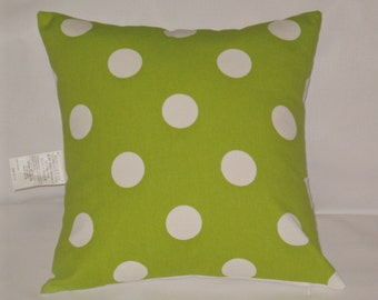 "Chartreuse lime green and white polka dot pillow, 18"" square, cushion with insert,"