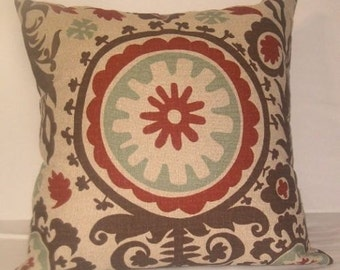 "Earth tone suzani decorative pillow 22"" square Brown beige, brick red,"