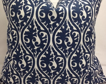 "Cobalt  blue and ivory decorativethrow pillow, 20"" square, kimono scroll,"