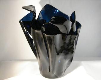 Stained Glass Vase, Cobalt Blue