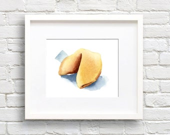 Fortune Cookie Art Print - Wall Decor - Watercolor Painting
