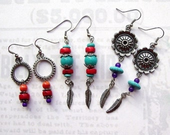 3 Pair of Southwest Style Drop Earrings, southwest jewelry, southwest earrings, feather earrings, concha earrings, silver earrings