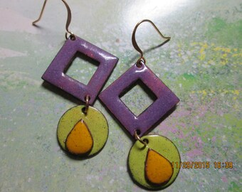 disk and triange earring with tear drop, copper enamel