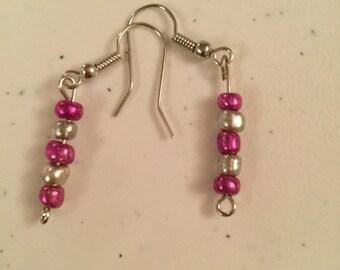 Beautiful Dark Pink and Silver Earrings