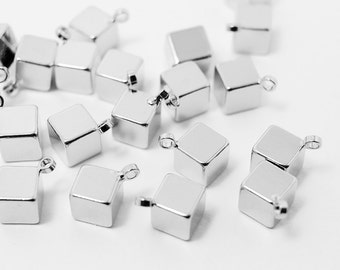 P0373/Anti-Tarnished Rhodium Plating Over Brass/Solid Cube Pendant/5mm/4pcs