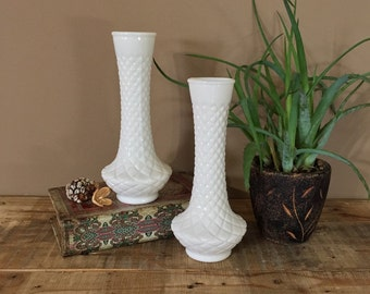 Classic Pair of Milk Glass Vases / Vintage Milk Glass / Vintage Vases / Wedding Vases / Vase Set / Pair of Vases / Wedding Centerpiece