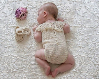 Cod 27 Crochet Baby Romper - sitter - baby girl romper - girl prop - newborn photo prop  ivory romper - baby shower gift - baby girl clothes
