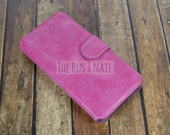 FREE SHIPPING - Pink iPhone 6 Wallet Case - Leather