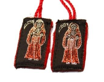 Santa Muerte Escapulario de Hilo-Knotted Grim Reaper Angel of Death Scapulary