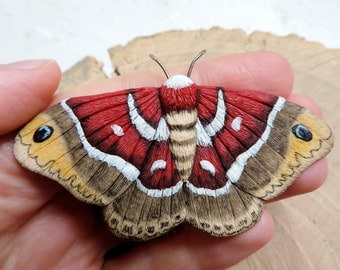 Moth, Polymer clay jewelry, Butterfly brooch, Red moth, Polymer clay butterfly, Moth Art, Nature Jewelry, Cecropia moth