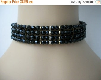 ON SALE Vintage Shimmery Black Faceted Beads Rhinestone Center Wired Choker Necklace 1128