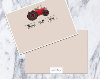 Printable-Thank You Card-Farm Theme-Red Tractor-Rooster-instant download