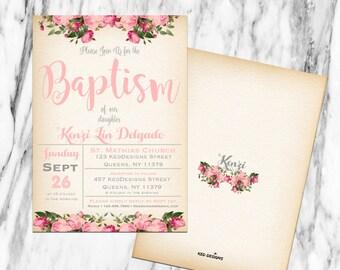 Printable-Invitation-Digital-Baptism-Dedication-Christening-Floral-Pink-Girl-Vintage feel-Custom-Bautismo-Personalize-Spanish-Floral Wreath