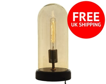 Edison Lamp, Vintage Light Up Table Top Dome Lamp - Small