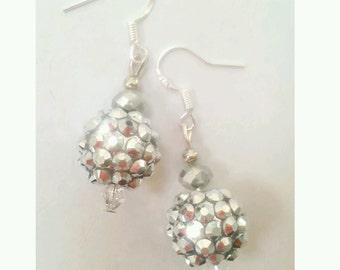 disco ball earrings, glitter earrings, silver glitter ball earrings, party earrings, glamourous earrings, bling earrings, bling jewelry