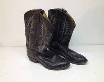 Vintage Distressed Black Tony Lama Cowboy Boots - Size 10 Worn Shabby Chic Country Western Decor