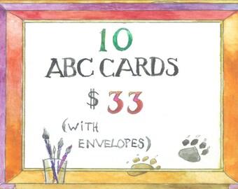 10 ABC Cards English Swedish Alphabet Cards