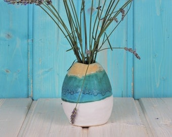 Ceramic vase - turquoise - white - small round flower vase - Mediterranean - Caribbean - production order