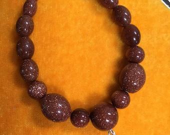 """Natural Gold Sandstone Beads/Rice/7""""/Gold Sandstone bracelet/Sterling silver"""