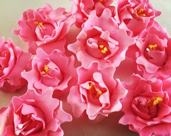 12 Fondant Peonies IV 12 Gumpaste Peonies Fondant Flowers Edible Flowers Icing Flowers Peonies Sugar Flowers Cake Decoration Cake Toppers