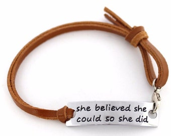 She Believed She Could So She Did Bracelet Inspirational Affirmation Jewelry