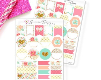 Dreamy Floral Weekly Variety Flags and Shapes Planner Stickers - for use in Happy Planner/Erin Condren/Inkwell Press/Day Designer-s7.2