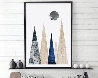 Mountain Print, Scandinavian Art, Scandinavian Modern, Nordic, Minimalist Poster, Printable Art, Affiche Scandinave, Downloadable Prints