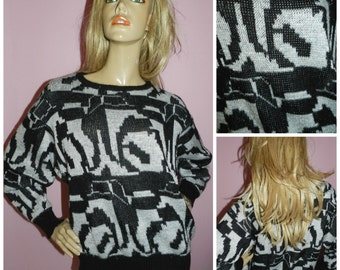 Vintage 80s Black/Grey Geometric Graphic Print Oversized GLITTER slouchy Sweater jumper M 80s NU Wave New Wave
