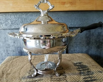 Silver Plate Chafing Dish with Wood Handle, Ornate Lid And Stand