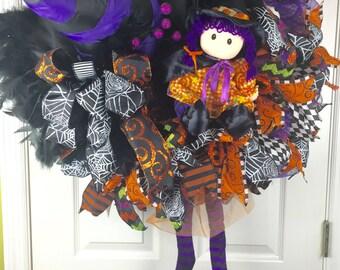 Halloween Wreath, Halloween Witch Wreath, Halloween Wreath, Orange Wreath, Deco Mesh Halloween Wreath, Witch Doll Wreath