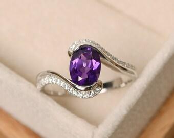 Purple amethyst ring, sterling silver, oval cut ring, purple gemstone ring, engagement ring, ring amethyst