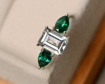 White topaz ring, engagement ring, three stone ring, promsie ring