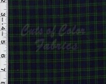 E16-01 Black Watch Classic Tartan Plaid Blue, Green, Black 100% cotton woven plaid
