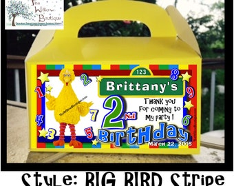 Pk 4 Sesame Street BIG BIRD Goody Box Favors or Labels Personalized with your childs name etc.