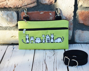 Lime Green Hipster Belly Bag, Cat Vegan Fanny Pack, Comfortable Waist Bag, canvas zippered utility belt, available waterproof version