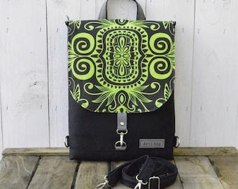 Canvas Mini Laptop backpack, Convertible shoulder bag, hipster festival rucksack, unique gift for college students, christmas present