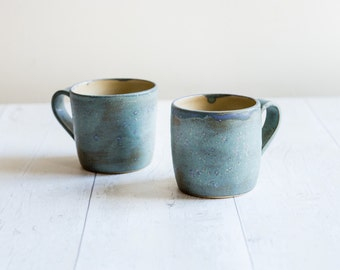 Frosty Blue Green Stoneware Mug - Ready to Ship