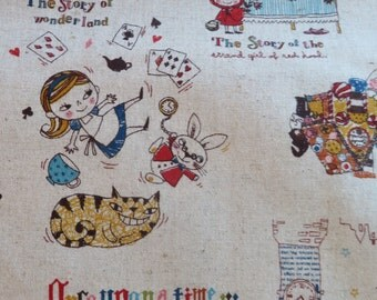 1/2 yard Westex Japan - Story Book FAIRY TALES - 100% Cotton Linen | Alice Wonderland Beauty and the Beast Little Red Riding Hood
