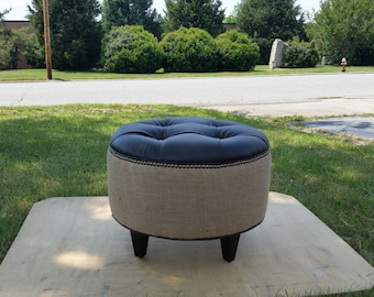 "24"" Vegan Leather and Burlap Pouf Ottoman- Upholstered Footstool- Contemporary Furniture~ Design 59 inc"