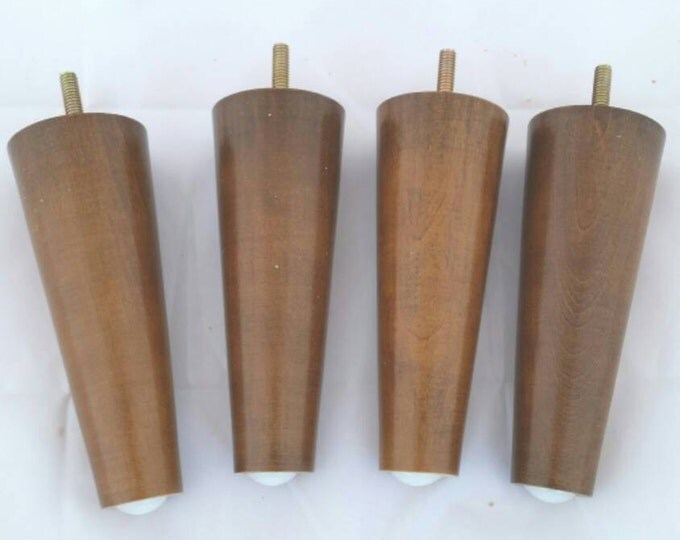 Mid Century Modern Legs  Retro Walnut Finish  6inches (set Of 4)
