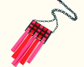 Pink Necklace, Ribbon Necklace, Geometric Necklace, Bib Necklace, Statement Necklace, Plastic Necklace, Urban Jewelry, Makeforgood