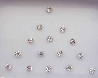 8 Pack-160 White Swarovski Crystal fake nose stud,Small size Bindi,Forehead tikka,Nail art decoration,Body art,Belly dance,Indian Face jewel