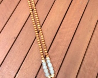 Brown Cone Seashell necklace with Aqua seaglass