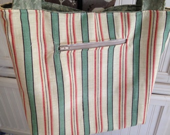Vintage style, upcycled fabric tote bag, fluer de lis  Rooster embroidered, moss roses, striped