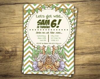Zoo Birthday Invitation - Wild Animals Party Invite - First Birthday, 1st, Elephant, Lions, Hippos, Giraffes, Tiger Digital File, Printable