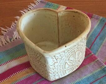 Heart baking pan, ceramic cake pan, bread loaf pan, heart cake pan, pottery baking dish, heart, lace, handmade vintage