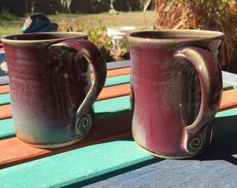 Ceramic mug, maroon, blue, rose, 12 ounces
